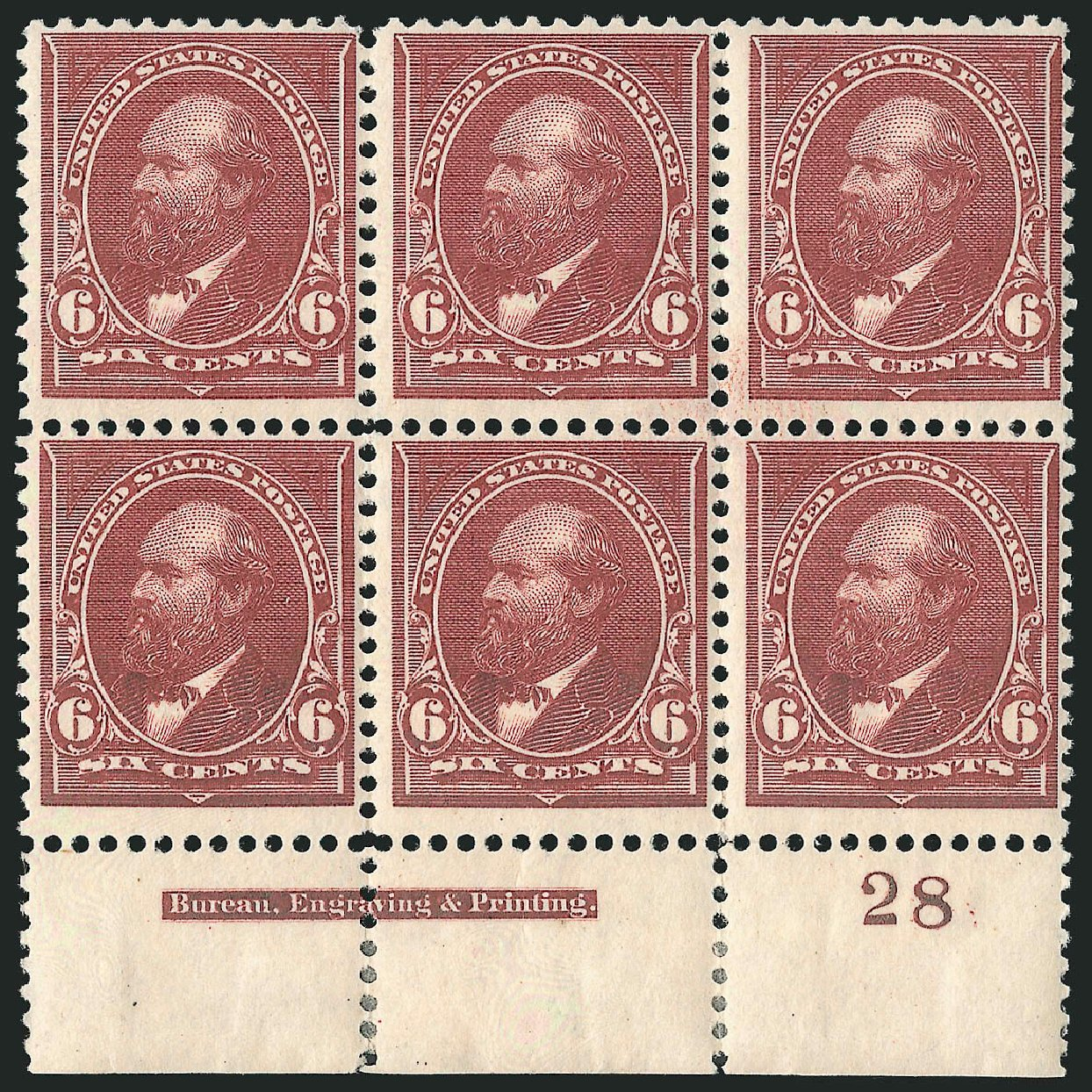 Costs of US Stamp Scott Catalog 256 - 6c 1894 Garfield. Robert Siegel Auction Galleries, Apr 2015, Sale 1096, Lot 452