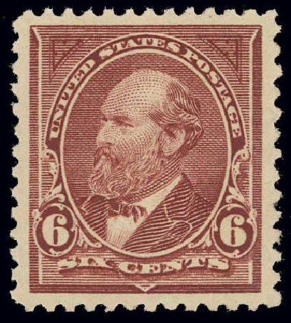 US Stamps Prices Scott Catalog # 256 - 1894 6c Garfield. Daniel Kelleher Auctions, Feb 2013, Sale 634, Lot 173