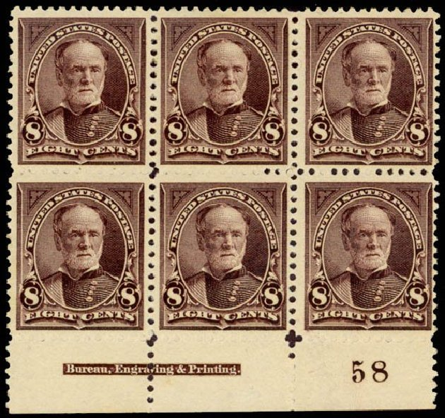 Price of US Stamps Scott # 257 - 1894 8c Sherman. Daniel Kelleher Auctions, Sep 2013, Sale 639, Lot 3351