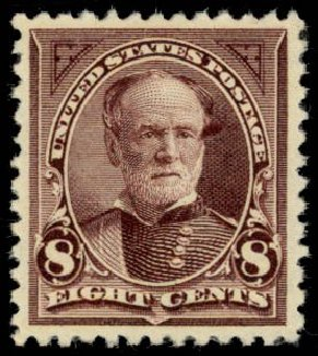 US Stamp Price Scott Catalog #257 - 8c 1894 Sherman. Daniel Kelleher Auctions, May 2014, Sale 653, Lot 2171