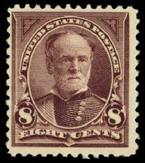 US Stamps Value Scott Catalogue 257 - 1894 8c Sherman. Daniel Kelleher Auctions, Dec 2014, Sale 661, Lot 224