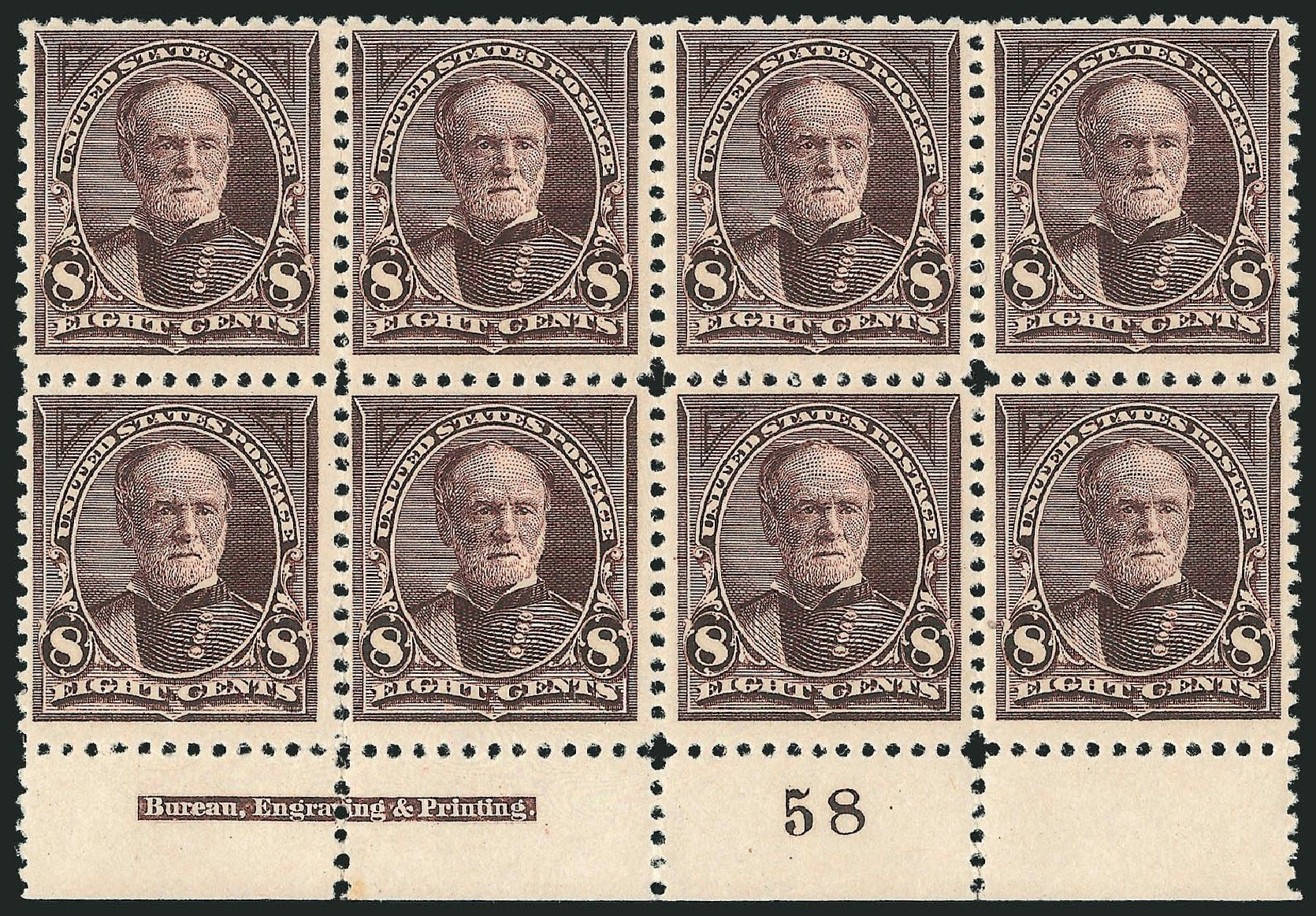 Values of US Stamp Scott 257: 1894 8c Sherman. Robert Siegel Auction Galleries, Nov 2014, Sale 1084, Lot 3574