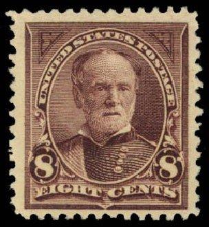 Cost of US Stamp Scott Cat. 257: 1894 8c Sherman. Daniel Kelleher Auctions, Dec 2014, Sale 661, Lot 225