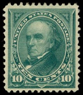 US Stamp Values Scott Cat. #258: 10c 1894 Webster. Daniel Kelleher Auctions, May 2014, Sale 653, Lot 2172