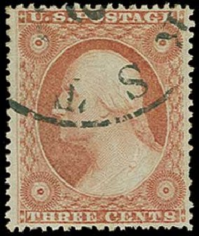 Value of US Stamp Scott Catalog # 26 - 3c 1857 Washington. H.R. Harmer, Jun 2015, Sale 3007, Lot 3119