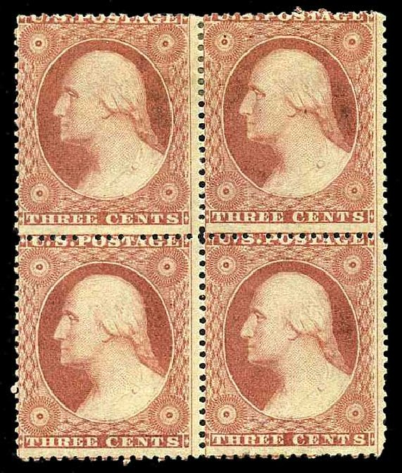 Value of US Stamp Scott Catalog # 26 - 1857 3c Washington. Harmer-Schau Auction Galleries, Aug 2015, Sale 106, Lot 1343