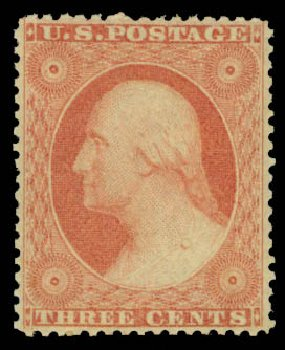 Values of US Stamp Scott Catalogue 26: 3c 1857 Washington. Daniel Kelleher Auctions, May 2015, Sale 669, Lot 2443