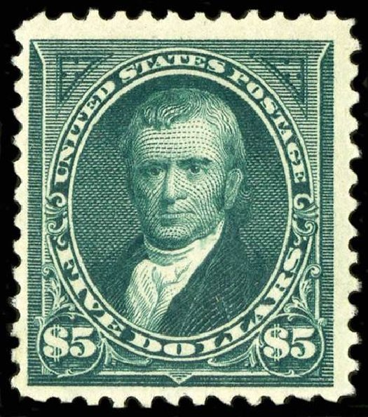 US Stamp Values Scott # 263: US$5.00 1894 Marshall. Spink Shreves Galleries, Jul 2015, Sale 151, Lot 217
