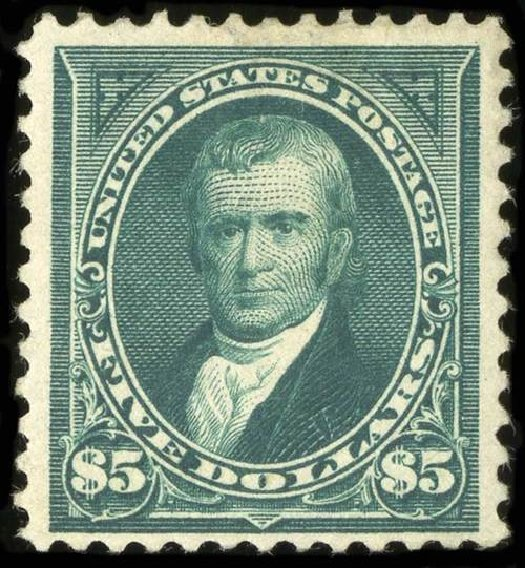 US Stamp Value Scott Catalogue 263 - US$5.00 1894 Marshall. Spink Shreves Galleries, Jul 2015, Sale 151, Lot 218