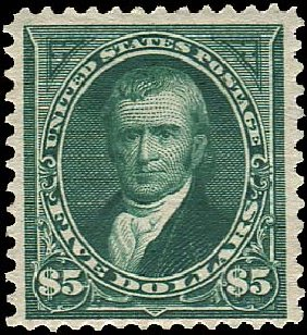 Value of US Stamps Scott # 263: US$5.00 1894 Marshall. Regency-Superior, Aug 2015, Sale 112, Lot 529