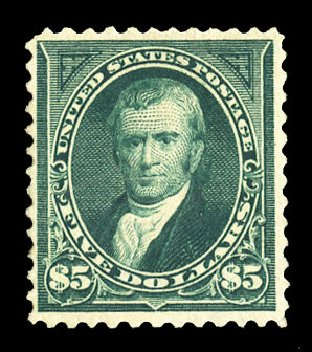 US Stamp Prices Scott Catalogue # 263: US$5.00 1894 Marshall. Cherrystone Auctions, Jul 2015, Sale 201507, Lot 2091