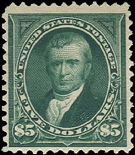 Value of US Stamp Scott Catalogue # 263: 1894 US$5.00 Marshall. Regency-Superior, Aug 2015, Sale 112, Lot 532