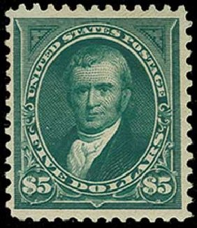Value of US Stamp Scott Catalogue 263: 1894 US$5.00 Marshall. H.R. Harmer, Jun 2015, Sale 3007, Lot 3266