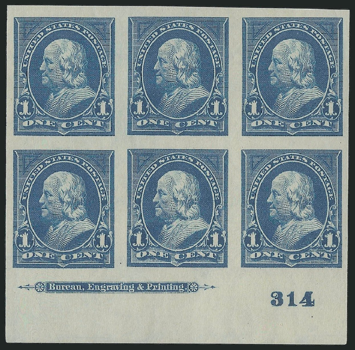 Cost of US Stamps Scott Catalogue 264 - 1895 1c Franklin. Robert Siegel Auction Galleries, Sep 2014, Sale 1078, Lot 397