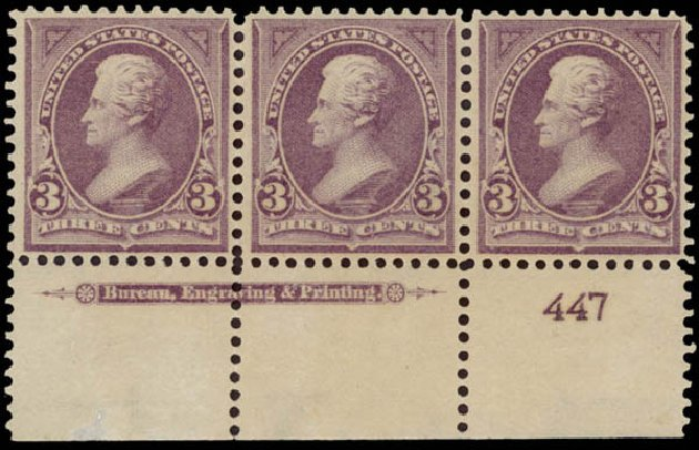 Costs of US Stamps Scott Catalog 268: 3c 1895 Jackson. Daniel Kelleher Auctions, May 2015, Sale 669, Lot 2785