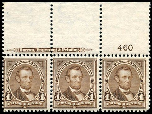 Values of US Stamp Scott Cat. # 269: 4c 1895 Lincoln. Schuyler J. Rumsey Philatelic Auctions, Apr 2015, Sale 60, Lot 2748