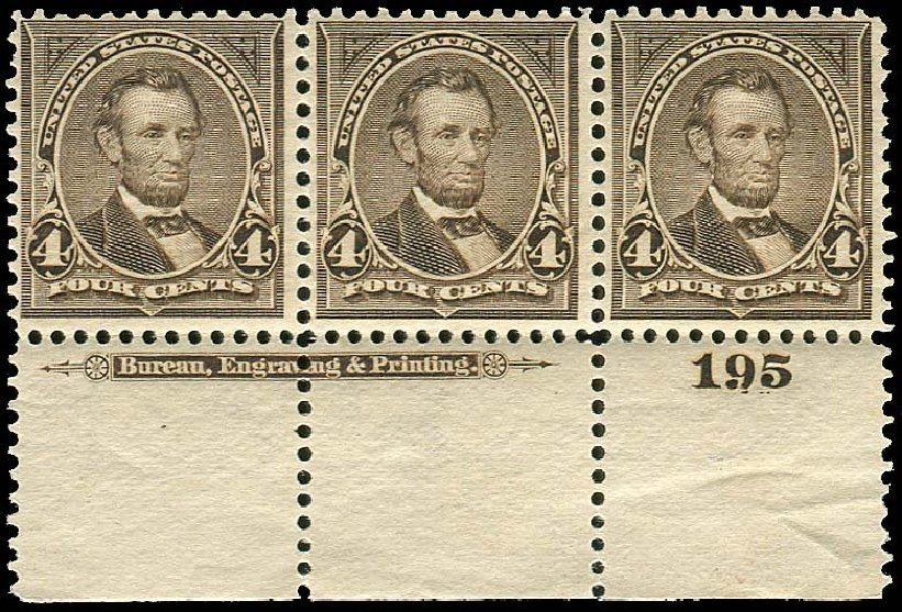 Cost of US Stamp Scott Catalogue #269: 1895 4c Lincoln. Regency-Superior, Nov 2014, Sale 108, Lot 544