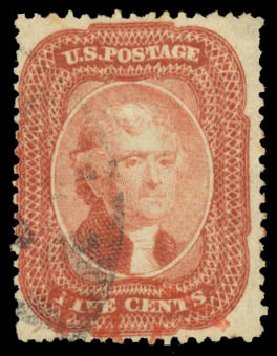 Value of US Stamp Scott Catalog 27: 5c 1858 Jefferson. Daniel Kelleher Auctions, Aug 2015, Sale 672, Lot 2188