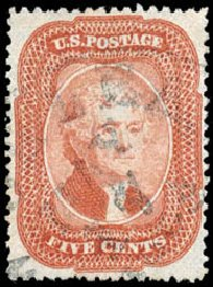 Value of US Stamps Scott Catalogue #27 - 1858 5c Jefferson. Schuyler J. Rumsey Philatelic Auctions, Apr 2015, Sale 60, Lot 1974