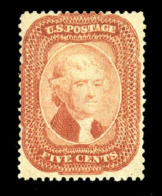 Prices of US Stamp Scott # 27 - 1858 5c Jefferson. Cherrystone Auctions, Jul 2015, Sale 201507, Lot 2022