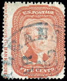 US Stamps Prices Scott #27 - 5c 1858 Jefferson. Schuyler J. Rumsey Philatelic Auctions, Apr 2015, Sale 60, Lot 1976