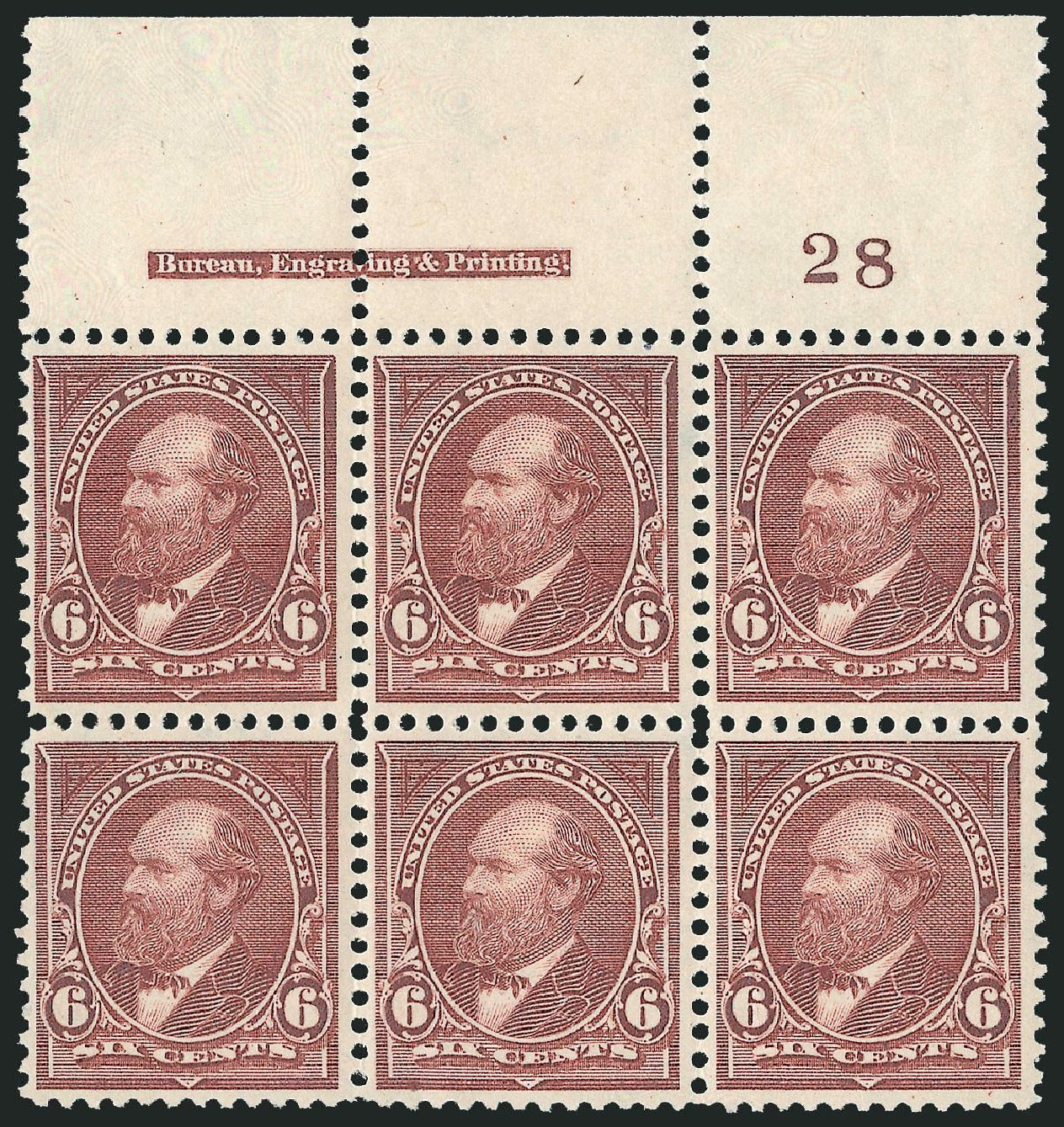 Values of US Stamps Scott Catalog 271 - 1895 6c Garfield. Robert Siegel Auction Galleries, Nov 2014, Sale 1084, Lot 3602