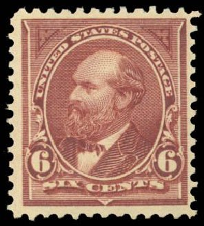 Value of US Stamp Scott #271: 1895 6c Garfield. Daniel Kelleher Auctions, Dec 2014, Sale 661, Lot 236