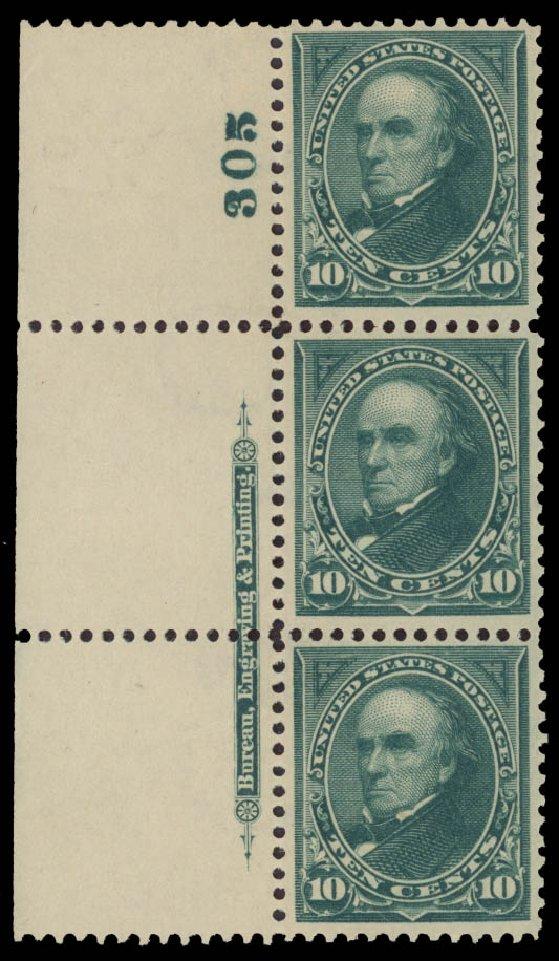 US Stamps Value Scott Catalogue 273: 1895 10c Webster. Daniel Kelleher Auctions, May 2015, Sale 669, Lot 2790