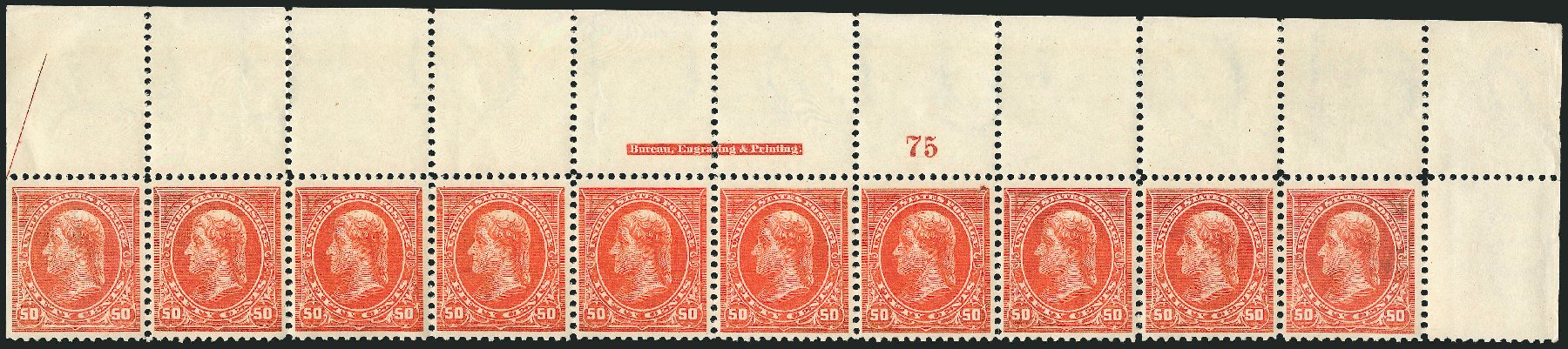 Costs of US Stamps Scott Cat. #275 - 50c 1895 Jefferson. Robert Siegel Auction Galleries, Feb 2015, Sale 1092, Lot 1212