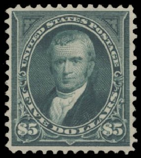 Costs of US Stamps Scott Catalog #278: US$5.00 1895 Marshall. Daniel Kelleher Auctions, Aug 2015, Sale 672, Lot 2557