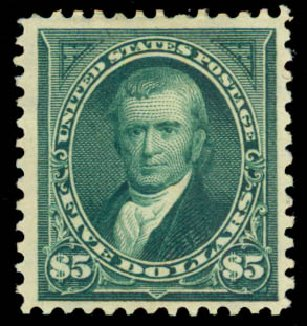 Prices of US Stamps Scott Catalog 278: US$5.00 1895 Marshall. Daniel Kelleher Auctions, Aug 2015, Sale 672, Lot 2558