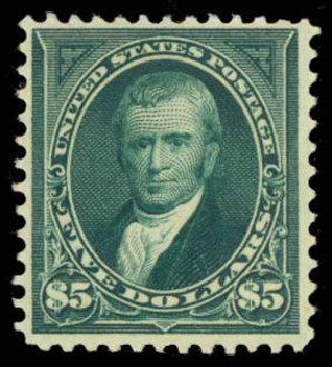 Price of US Stamps Scott Catalogue #278 - 1895 US$5.00 Marshall. Daniel Kelleher Auctions, Aug 2015, Sale 672, Lot 2559