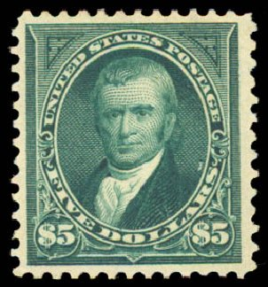 US Stamp Price Scott Catalog # 278 - US$5.00 1895 Marshall. Daniel Kelleher Auctions, Aug 2015, Sale 672, Lot 2560