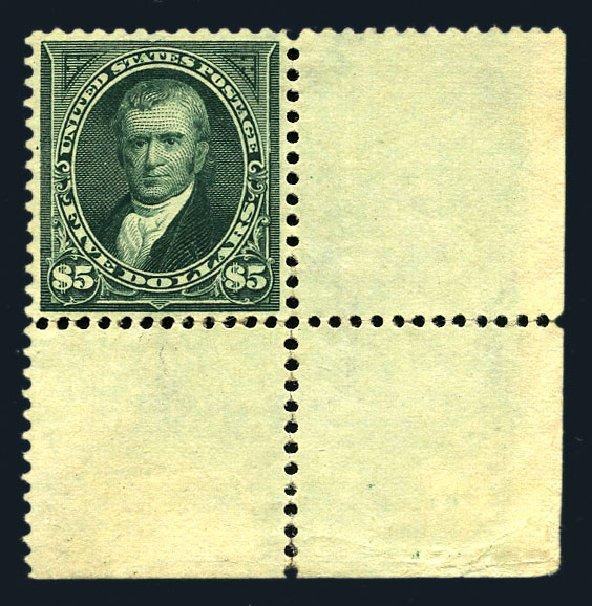 Values of US Stamp Scott Cat. #278 - 1895 US$5.00 Marshall. Harmer-Schau Auction Galleries, Aug 2015, Sale 106, Lot 1691