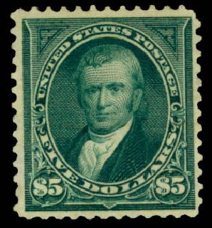 Prices of US Stamps Scott Cat. 278: US$5.00 1895 Marshall. Daniel Kelleher Auctions, Aug 2015, Sale 672, Lot 2561