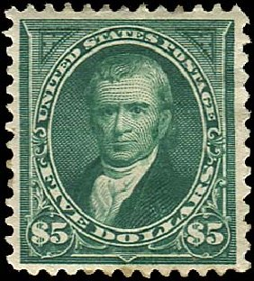 Value of US Stamp Scott Cat. # 278 - 1895 US$5.00 Marshall. Regency-Superior, Aug 2015, Sale 112, Lot 571