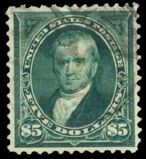 Cost of US Stamps Scott Cat. # 278 - US$5.00 1895 Marshall. Daniel Kelleher Auctions, Aug 2015, Sale 672, Lot 2564