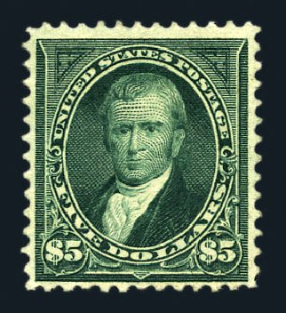 US Stamps Value Scott Cat. # 278 - US$5.00 1895 Marshall. Harmer-Schau Auction Galleries, Aug 2015, Sale 106, Lot 1692