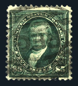 US Stamps Value Scott Catalog 278: US$5.00 1895 Marshall. Harmer-Schau Auction Galleries, Aug 2015, Sale 106, Lot 1693