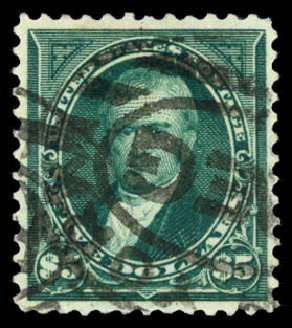 Values of US Stamps Scott #278 - 1895 US$5.00 Marshall. Daniel Kelleher Auctions, Aug 2015, Sale 672, Lot 2563