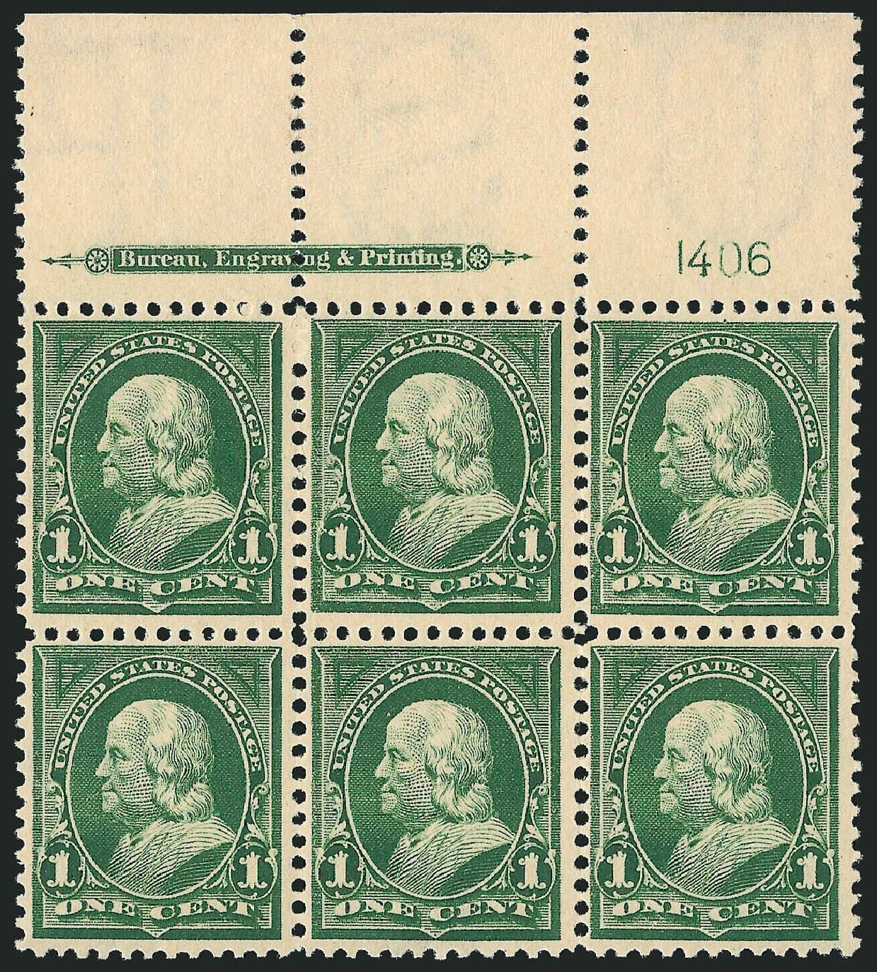 Price of US Stamps Scott Cat. # 279: 1898 1c Franklin. Robert Siegel Auction Galleries, Nov 2014, Sale 1084, Lot 3638