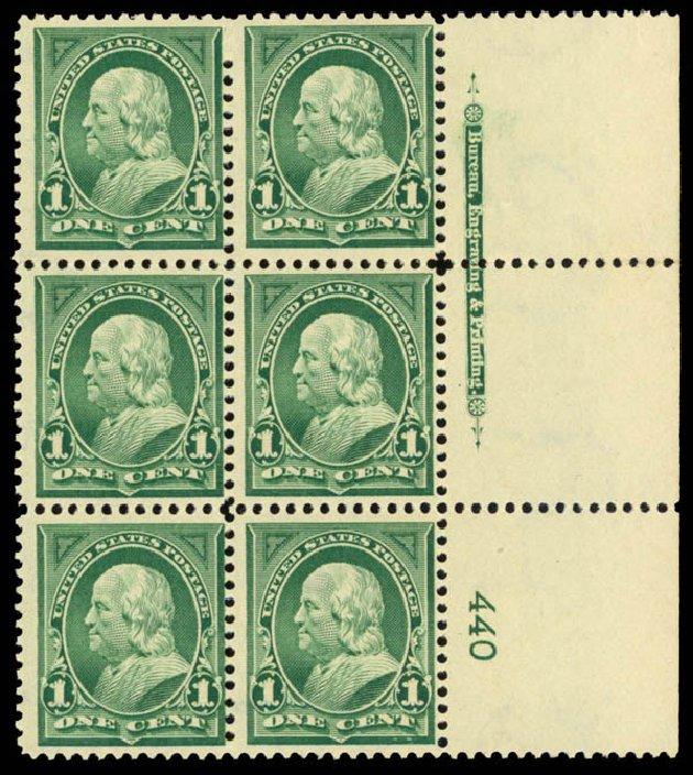 US Stamp Prices Scott Cat. #279 - 1898 1c Franklin. Daniel Kelleher Auctions, Mar 2013, Sale 635, Lot 394
