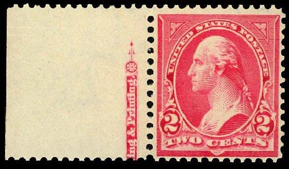 US Stamps Prices Scott Cat. 279B - 1897 2c Washington. Daniel Kelleher Auctions, Apr 2013, Sale 636, Lot 227