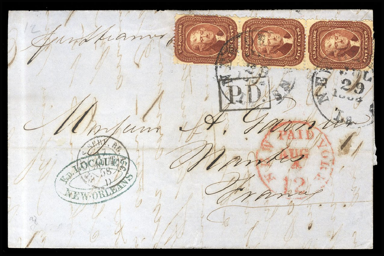 Value of US Stamp Scott Catalogue 28 - 1857 5c Jefferson. Cherrystone Auctions, Jul 2015, Sale 201507, Lot 20