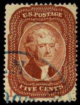 Costs of US Stamp Scott Cat. 28: 5c 1857 Jefferson. Daniel Kelleher Auctions, May 2015, Sale 669, Lot 2451