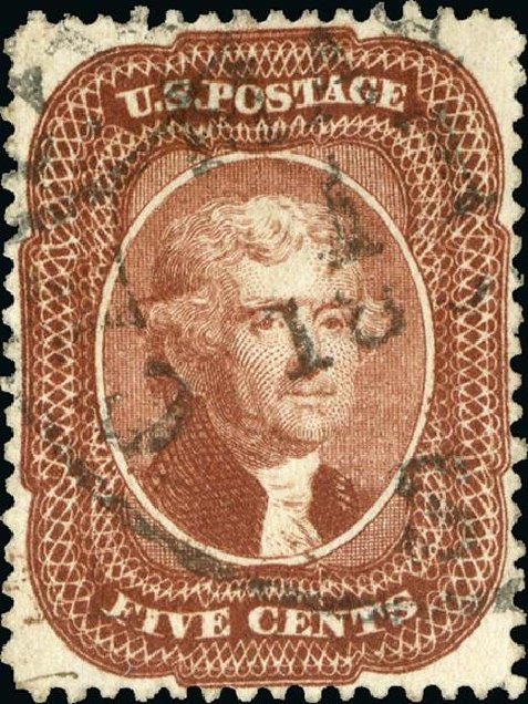 Price of US Stamp Scott #28: 1857 5c Jefferson. Spink Shreves Galleries, Jan 2015, Sale 150, Lot 64