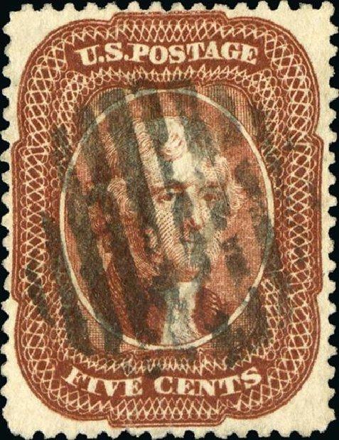 Value of US Stamp Scott #28 - 5c 1857 Jefferson. Spink Shreves Galleries, Jan 2015, Sale 150, Lot 65