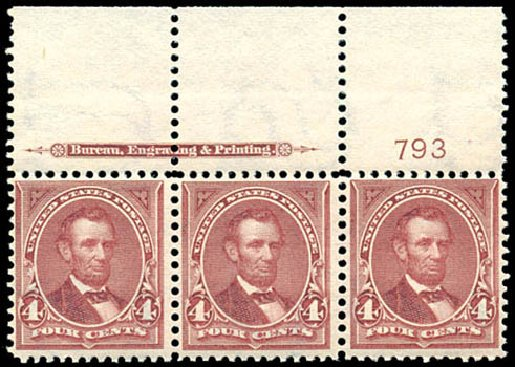 Costs of US Stamps Scott Cat. 280 - 1898 4c Lincoln. Schuyler J. Rumsey Philatelic Auctions, Apr 2015, Sale 60, Lot 2757