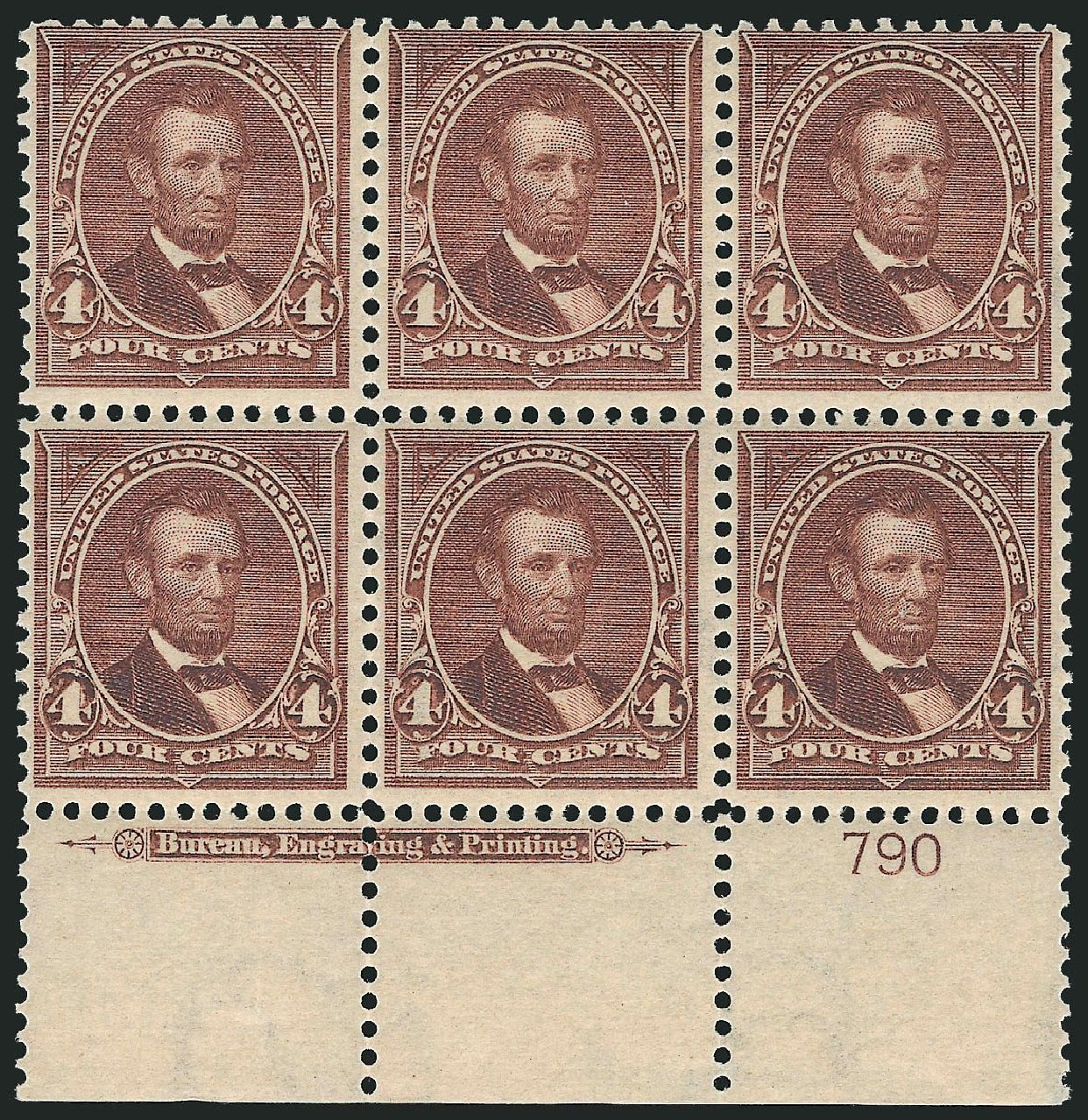 US Stamps Value Scott Catalogue #280: 4c 1898 Lincoln. Robert Siegel Auction Galleries, Nov 2014, Sale 1084, Lot 3647