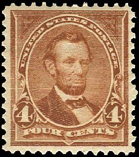 US Stamp Values Scott Cat. 280 - 4c 1898 Lincoln. Regency-Superior, Aug 2015, Sale 112, Lot 580